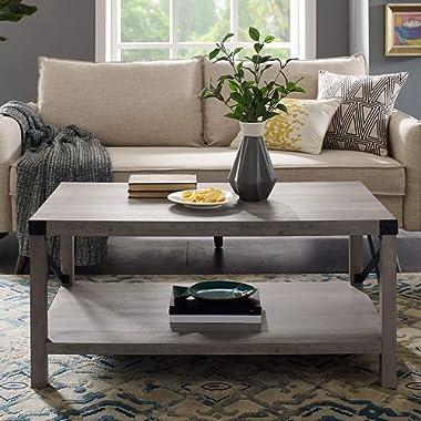 WE Furniture AZF40MXCTGW Coffe Table, 40 , Grey Wash
