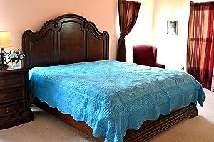 Tache Home Fashion DXJ109041-2C Quilt Set, California King, Blue