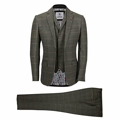 d9363f9434d Mens 3 Piece Classic Tweed Wool Suit Olive Green Vintage Herringbone Check  Smart Tailored Fit