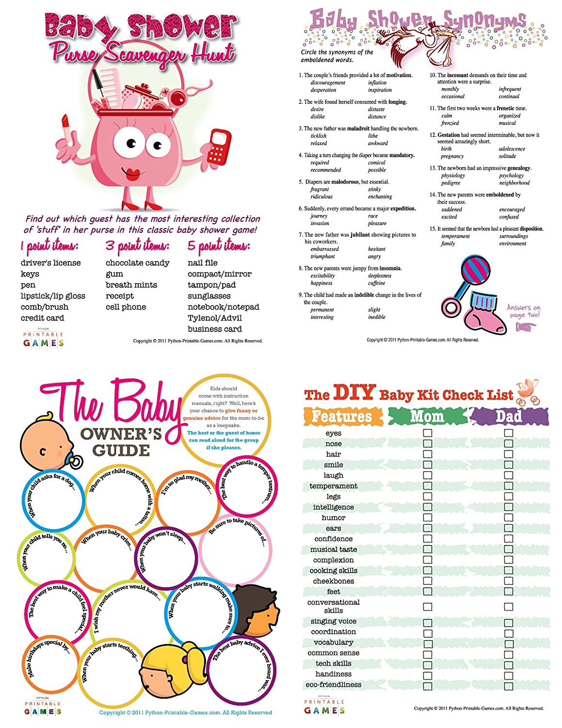 graphic about Printable Baby Shower identified as Printable Little one Shower Game titles Pack [Down load]