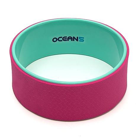 Ocean 5 Yoga-Wheel Karna, Anillo de Entrenamiento para Mejorar la flexibilidad, 33 cm de Rollo para Yoga para la Relajación de la Columna Vertebral, Color: Menta/Rosa