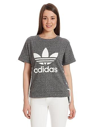 Adidas Originals Trefoil logo mujeres gris cordon cordon Sweat Top