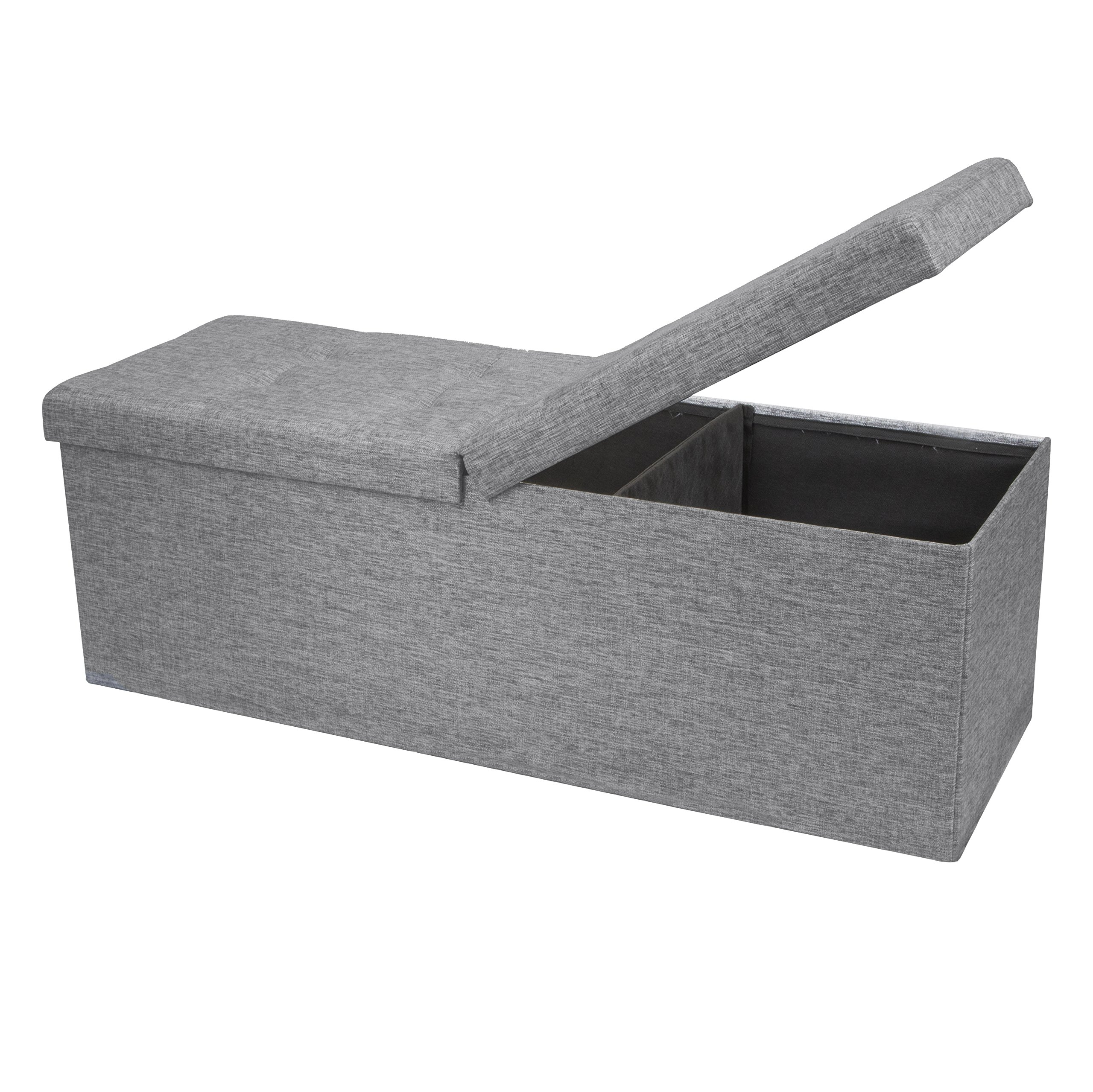 Otto & Ben 45'' Storage Folding Toy Box Chest with Smart Lift Top Linen Fabric Ottomans Bench Foot Rest for Bedroom and Living Room, Light Grey by Otto & Ben