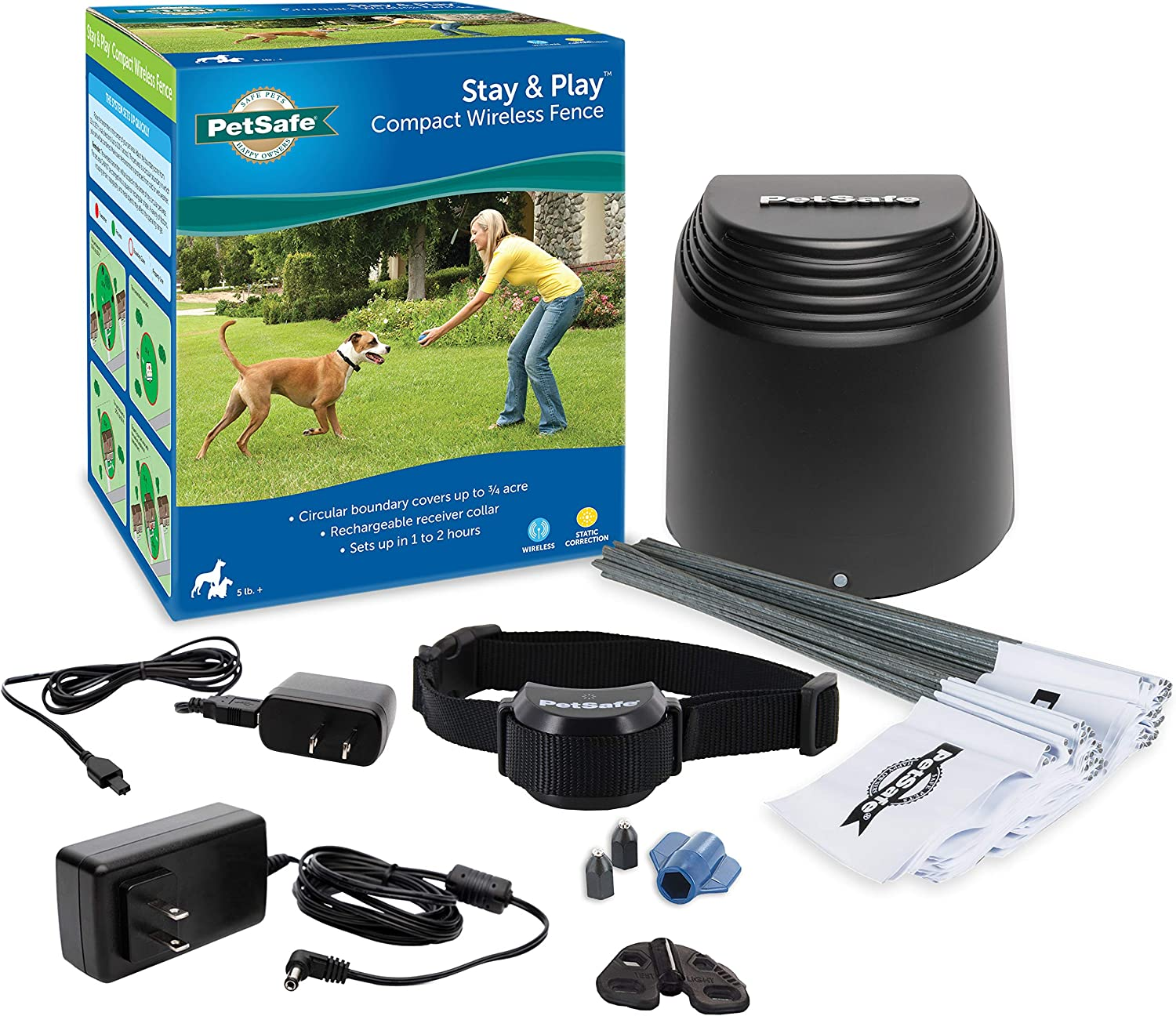 PetSafe Stay & Play Compact Wireless Fence for Dogs & Cats