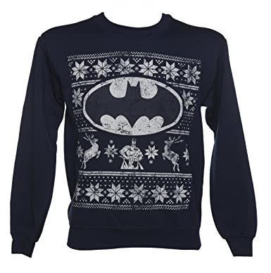 Unisex Navy DC Comics Batman Fair Isle Christmas Sweater at Amazon ...