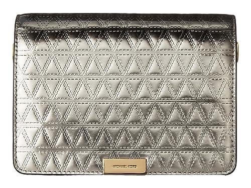 bd5bf177b1d3 MICHAEL Michael Kors Jade Medium Gusset Clutch with crodd body chain,  Champaign: Amazon.in: Shoes & Handbags