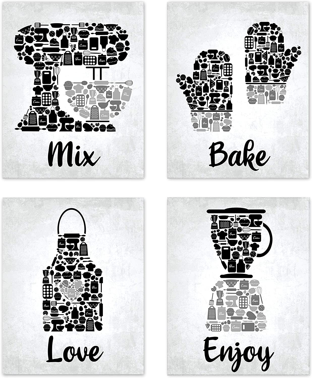 """Bake Mosaic Black Charcoal Grey Retro Inspirational Restaurant Utensil Food Wall Art Chef Baking Prints Posters Signs Sets for Rustic Country Kitchen Decor Home House Decor Decoration Dining Room Funny Sayings Quotes Unframed 8"""" x 10"""""""