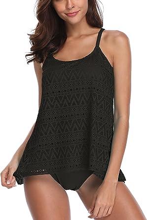 TALLA S. FLYILY Tankini baño de Malla para Mujer Conjunto de Dos Piezas. Bikini de Cintura Alta. Tallas Grandes