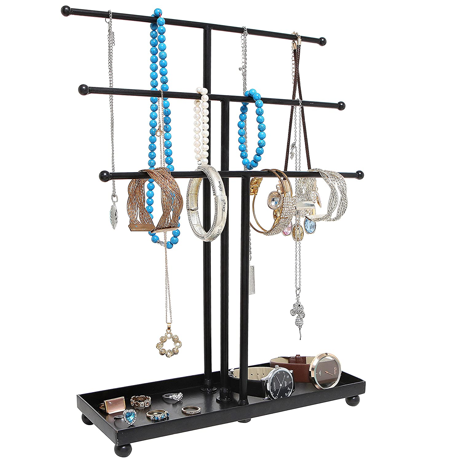 Modern Black Metal 3 Tier Tabletop Bracelet & Necklace Jewelry Organizer Display Tree Rack W/ Ring Tray by My Gift