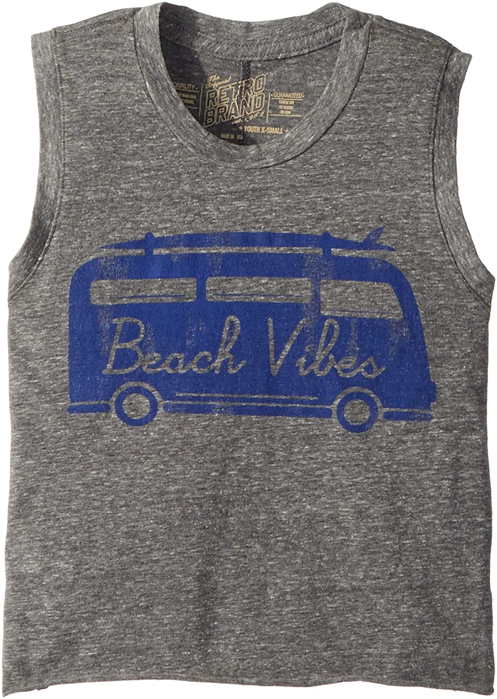 The Original Retro Brand Kids Womens Beach Vibes Vintage Tri-Blend Crop Tank Top Big Kids