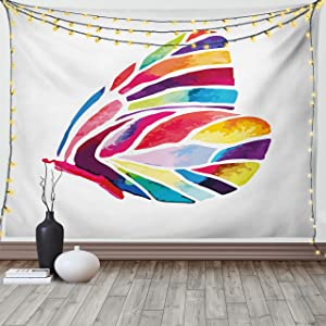 Ambesonne Modern Tapestry, Butterfly with Rainbow Colored Wings Geometric Lines Modern Artwork Image Print, Wide Wall Hanging for Bedroom Living Room Dorm, 60