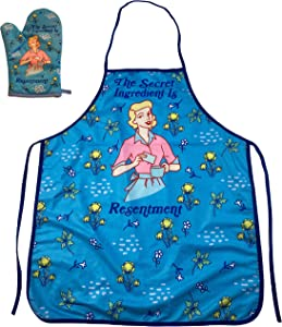 Crazy Dog T-Shirts The Secret Ingredient is Resentment Funny Cooking Graphic Novelty Kitchen Accessories (Oven Mitt + Apron)