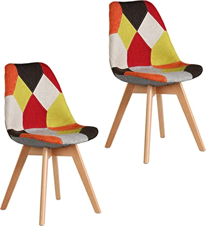 Set of 2 Patchwork Fabric Dining Chairs Home Office Lounge Furniture UK