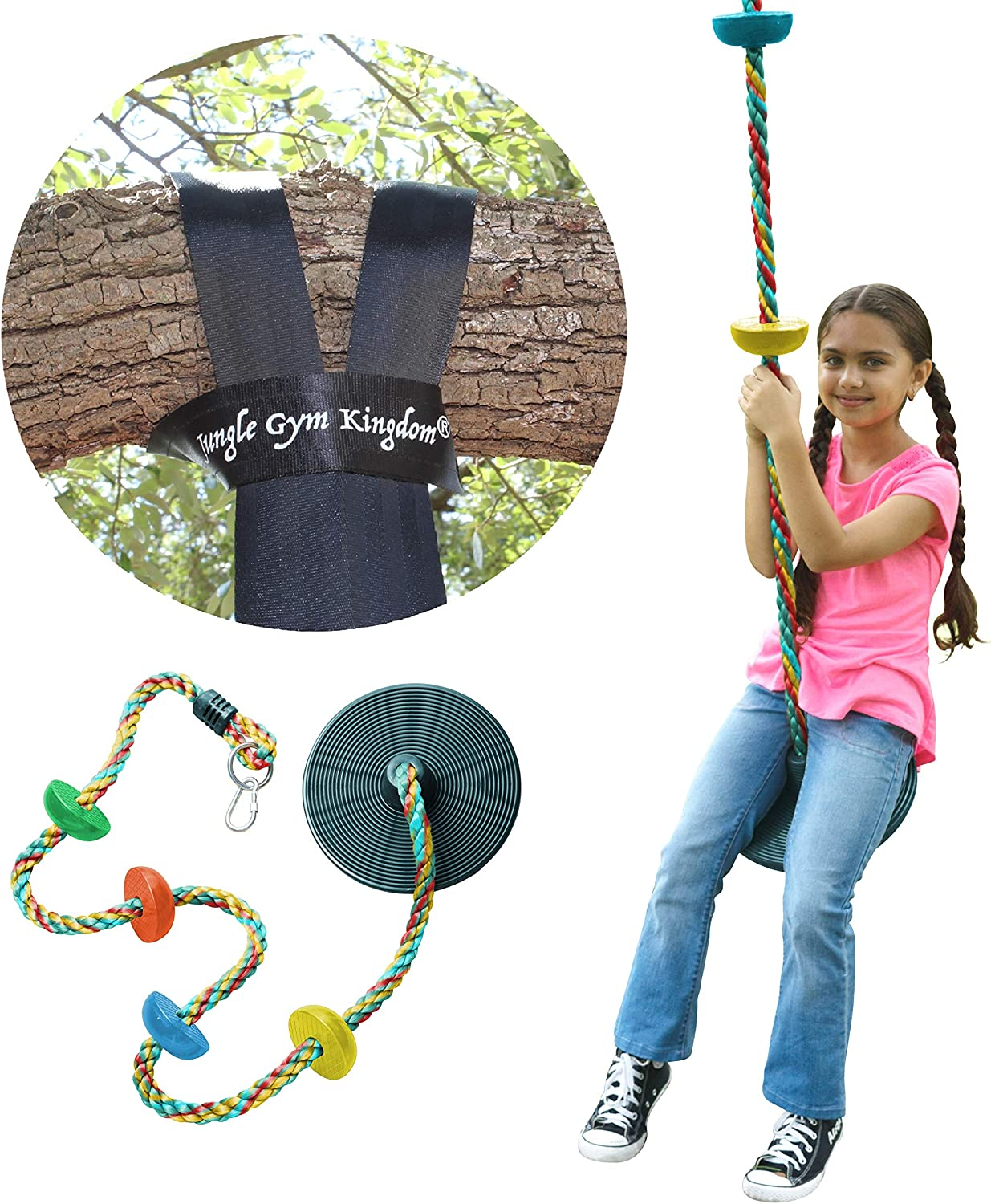 Jungle Gym Kingdom Tree Swing Multicolor Climbing Rope with Platforms Green Disc Swings Seat - Outdoor Playground Set Accessories Tree House Flying Saucer Outside Toys - Bonus Carabiner & 4 Feet Strap