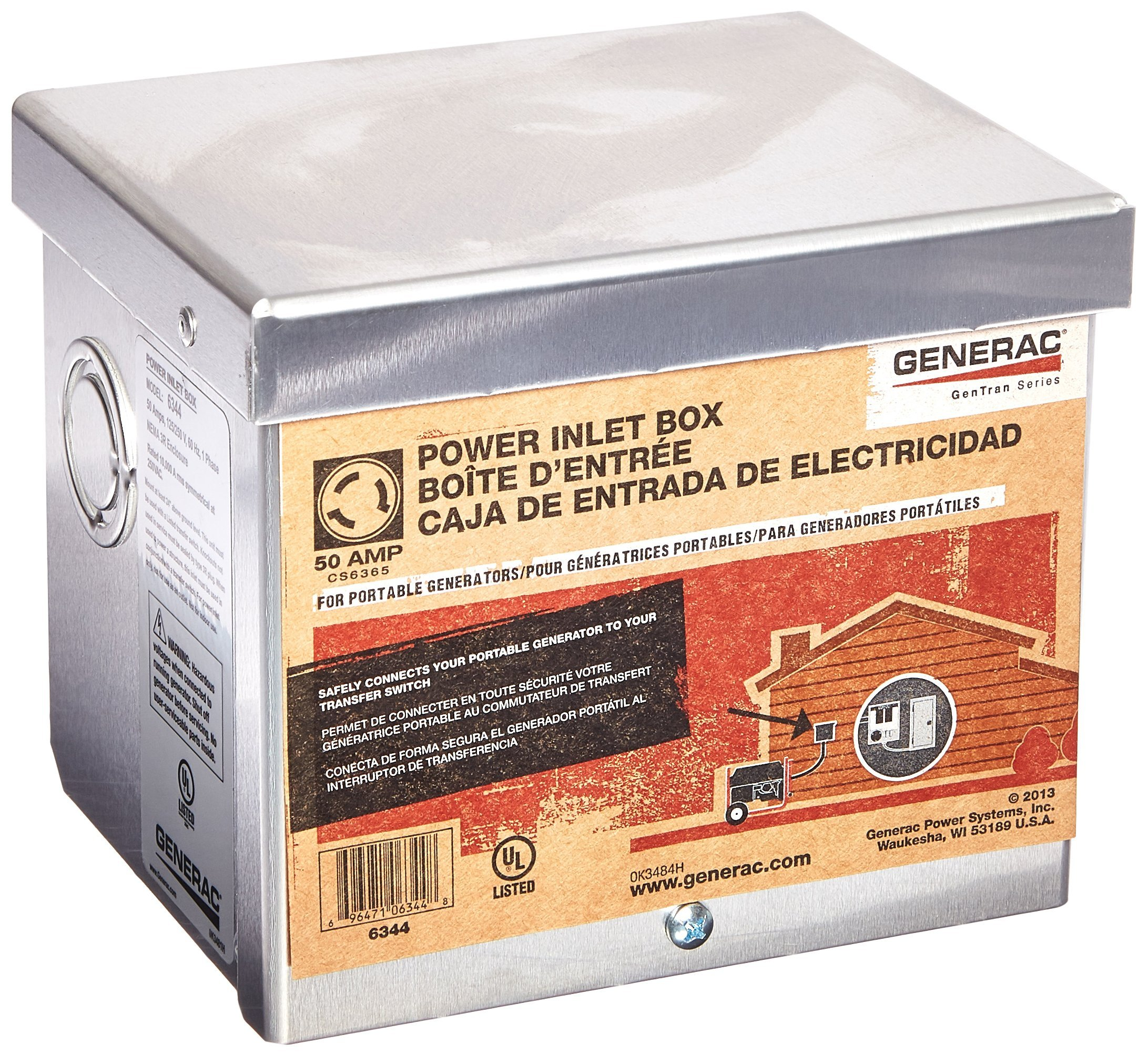 Generac 6344 50-Amp 125/250V Raintight Aluminum Power Inlet Box by Generac