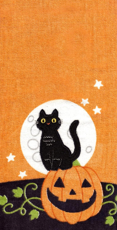 Celebrate Together Embroidery Black Cat Decorative Cotton Kitchen Bath Towels Set of 2