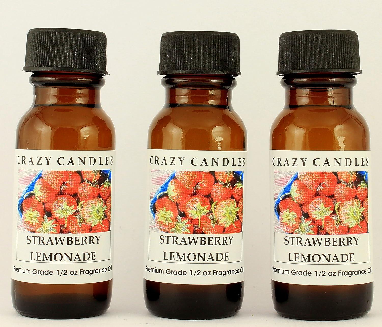 Crazy Candles Strawberry Lemonade 3 Bottles 1/2 FL Oz Each (15ml) Premium Grade Scented Fragrance Oil