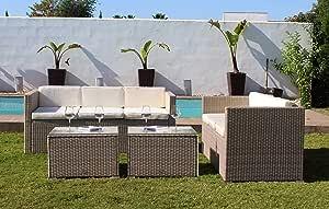 Kiefergarden - Muebles de Jardín Exterior Los Ángeles formado por 2 sofás de jardín Exterior triples y 2 mesas de jardín Hechos de ratán sintético en Color Beige: Amazon.es: Jardín