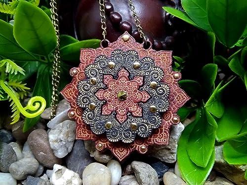 Mandala Bali Wood Mandala Necklace Laser Cut Necklace Pendant Boho Style Geometric Wood Art Flower Necklace