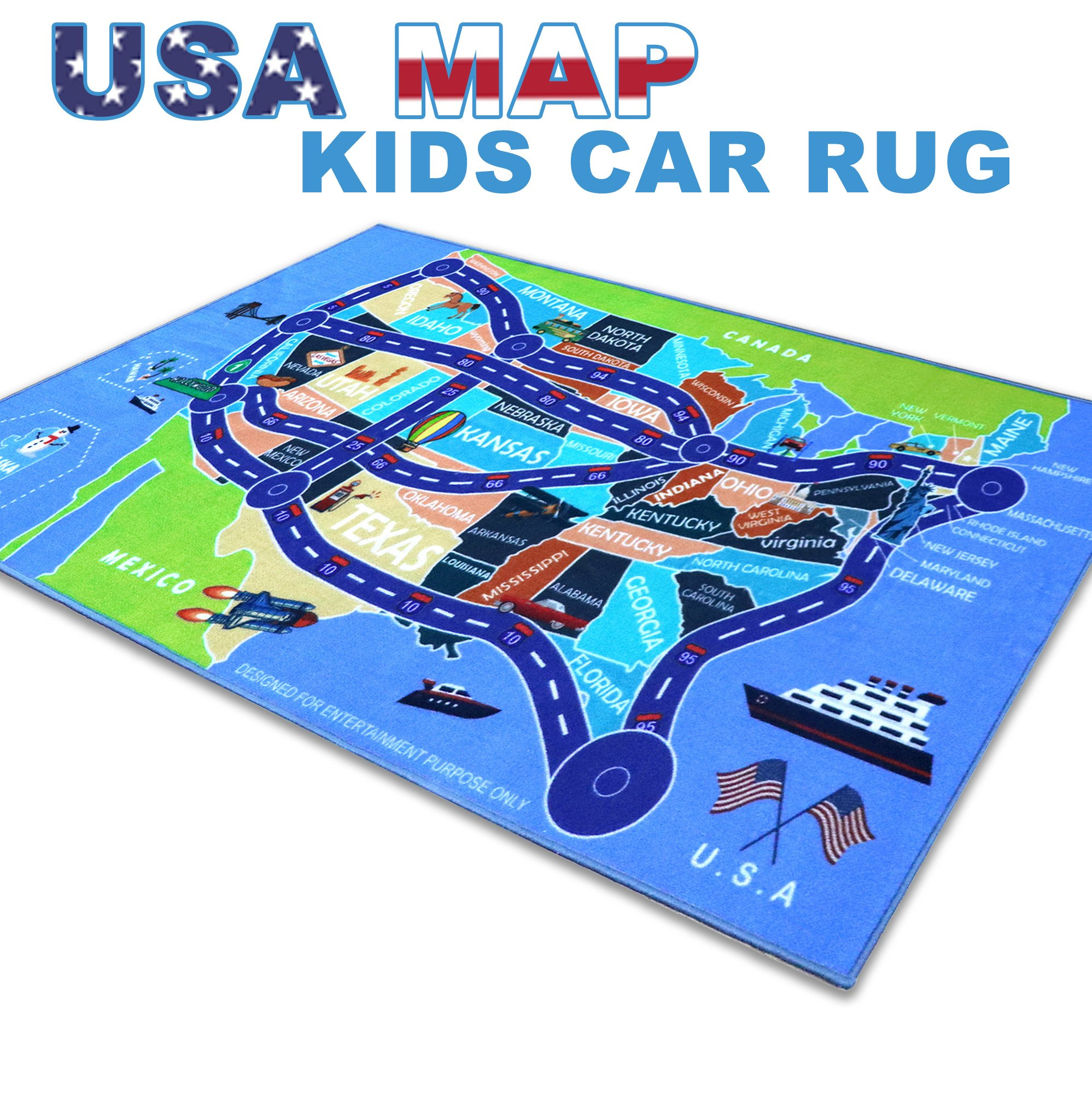 2018 Kids Rug Area Play Mat Car Carpet with Road 4' 11'' X 2' 7'' Map of USA--High Definition(HD) with Non-Slip Backing Nontoxic for Playroom Bedroom Classroom Toy & Game