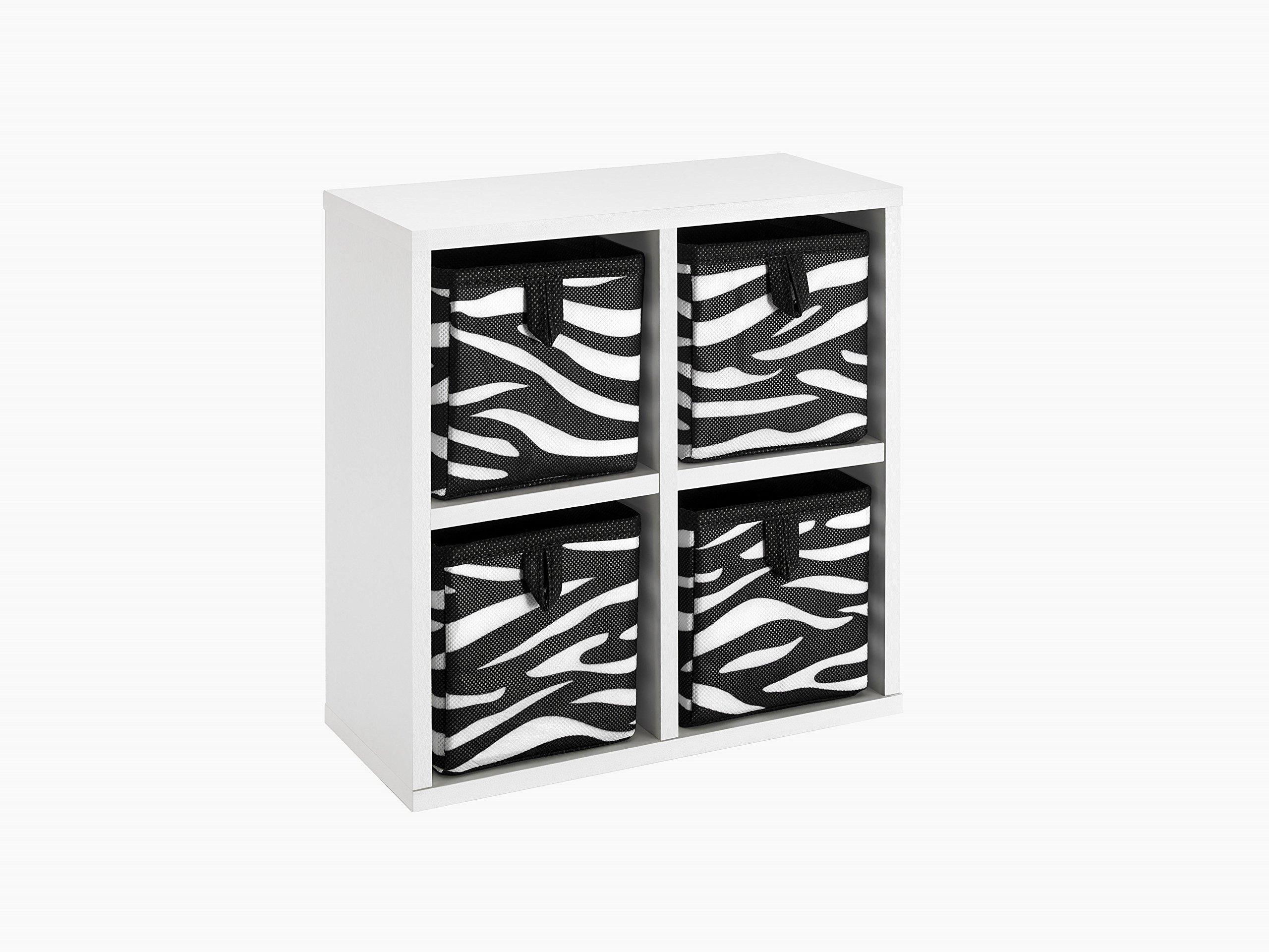 ClosetMaid 4431 Tiny 4-Cube Organizer with Four Zebra Pattern Bins