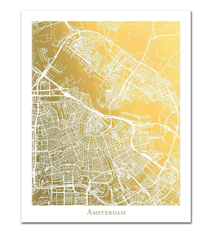 Amazon com: Amsterdam Map, Gold Foil Print, Gold Foil Map of