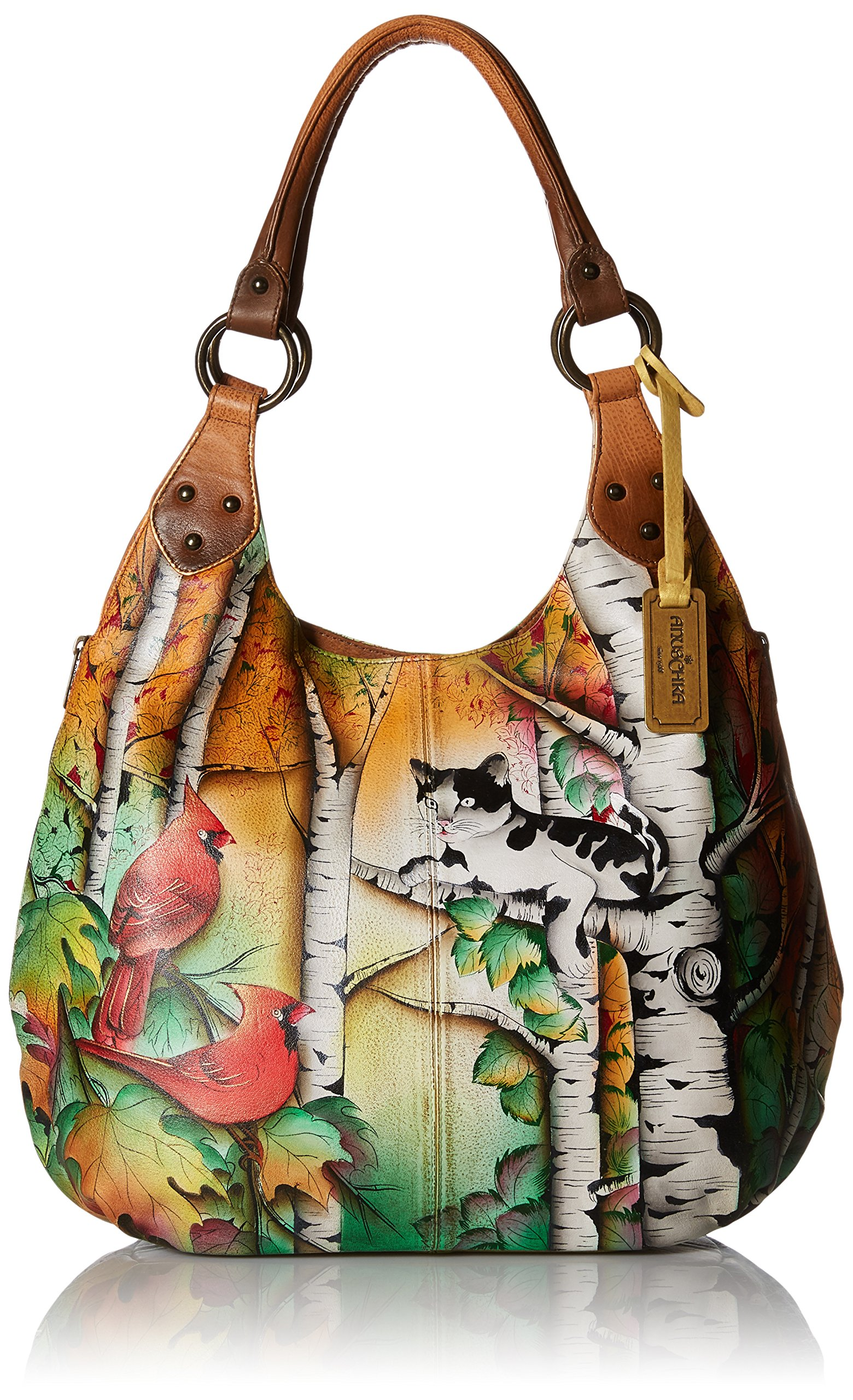 Anuschka Handpainted Leather 514-CCT Large Shoulder Hobo, Country Cat, One Size