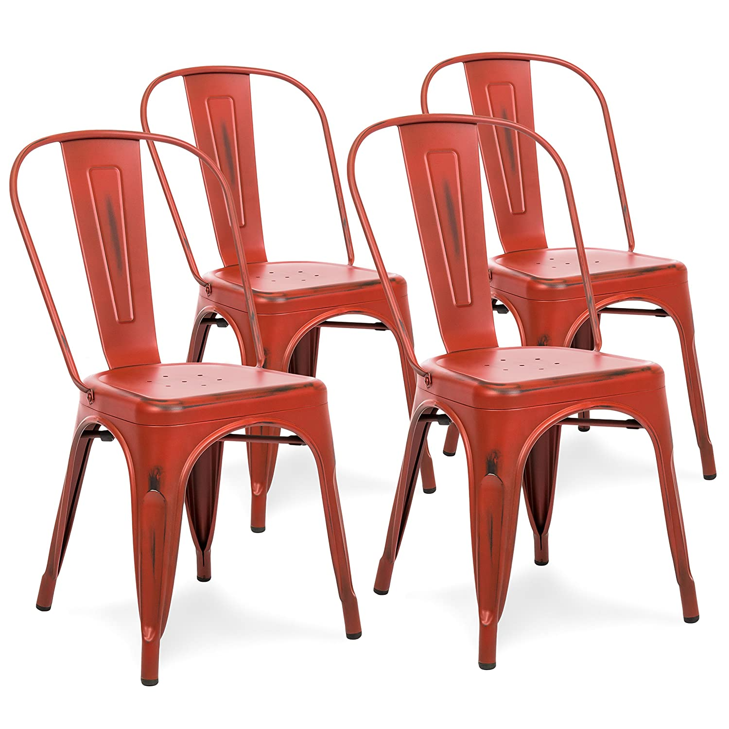 Best Choice Products Metal Industrial Distressed Bistro Chairs for Home, Dining Room, Caf , Restaurant Set of 4, Red