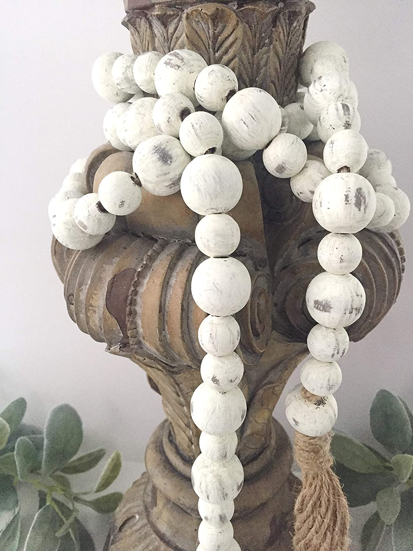 Blue Farmhouse Wood Bead Garland-Home Decor Beads-Nautical Decor-Mothers Day Gift