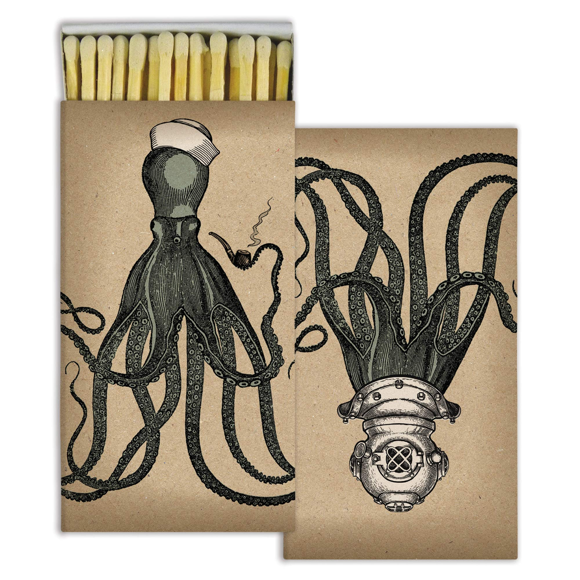 Decorative Octopus Match Boxes with Long Kitchen Matches Great for Lighting Candles, Grills, Fireplaces and More | Set of 10 Match Boxes