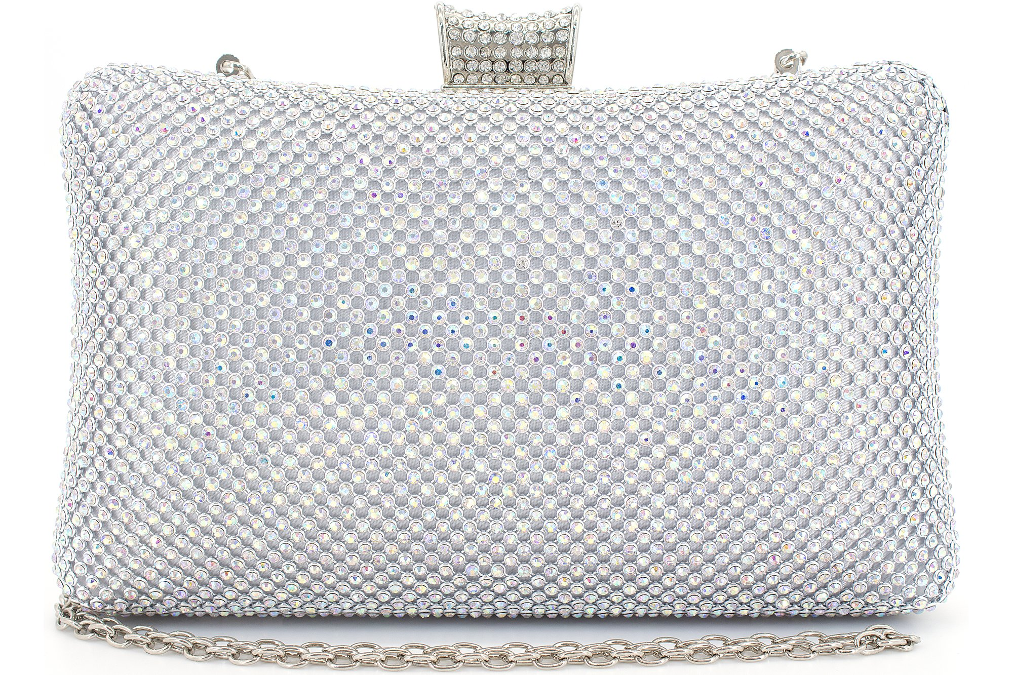 Rhinestone Crystal Clutch Purse Large Clutches Women Evening Bags for Wedding Party AB Silver