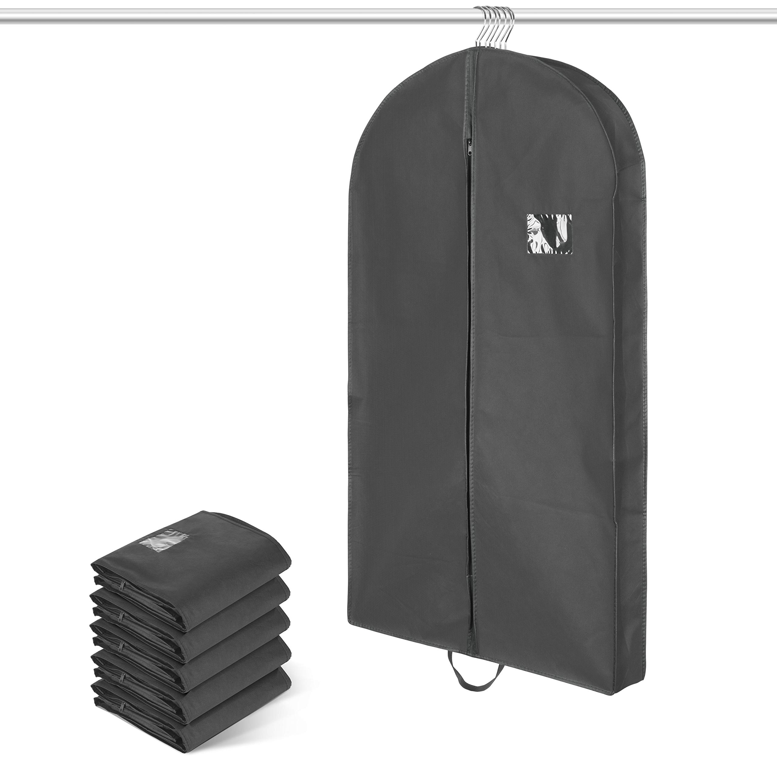Titan Mall 42-Inch Garment Bag Foldover Breathable Suit Cover with Handles and 4'' Gusset - Black, Set of 5