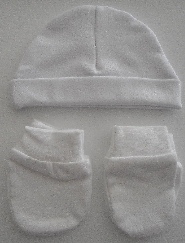 Soft Touch Berretto e guanti bianco di nascita per Bebe cotone bianco bianco NOUVEAU NE