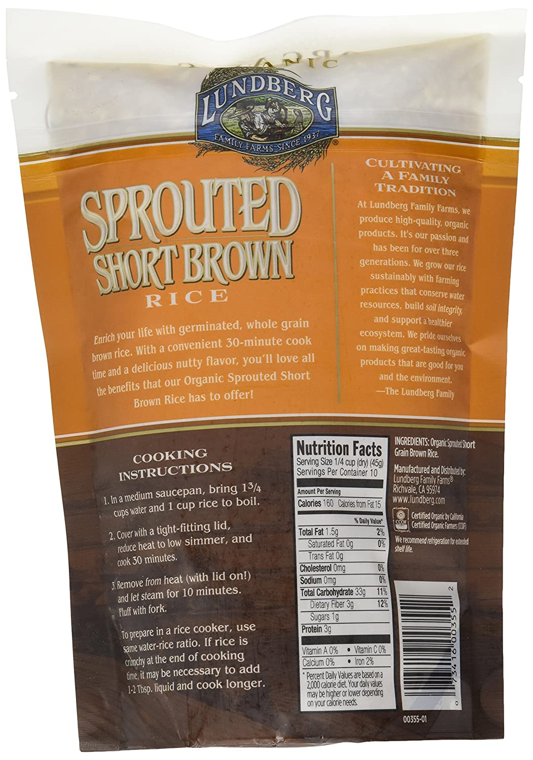 Amazon : Lundberg Sprouted Short Brown Rice, 1 Pound : Grocery &  Gourmet Food