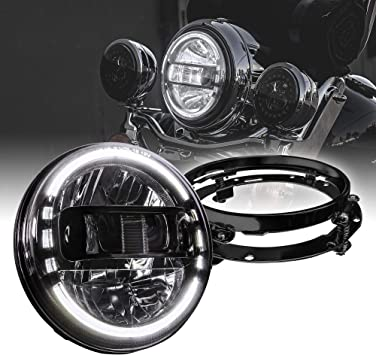 Chrome-Finish H4 Adapters /For Touring Dyna Electra Glide Road King Softail Fatboy Road Glide 7 LED Headlight//4.5 Passing Light for Harley Davidson DOT Approved HALO DRL Mounting Bracket