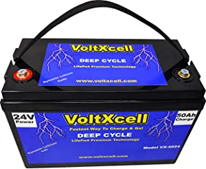 24v Lithium Battery 24 Volt Lifepo4 Solar Wind RV Camper Power Storage Trolling Motor 50AH Home Car Audio Fast Charging BMS Included