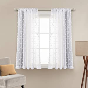 "MYSKY HOME Pom Pom Sheer Curtains Rod Pocket Voile Sheer Drapes Window Curtains for Bedroom Living Room (2 Panels, 54"" x 63"", White)"