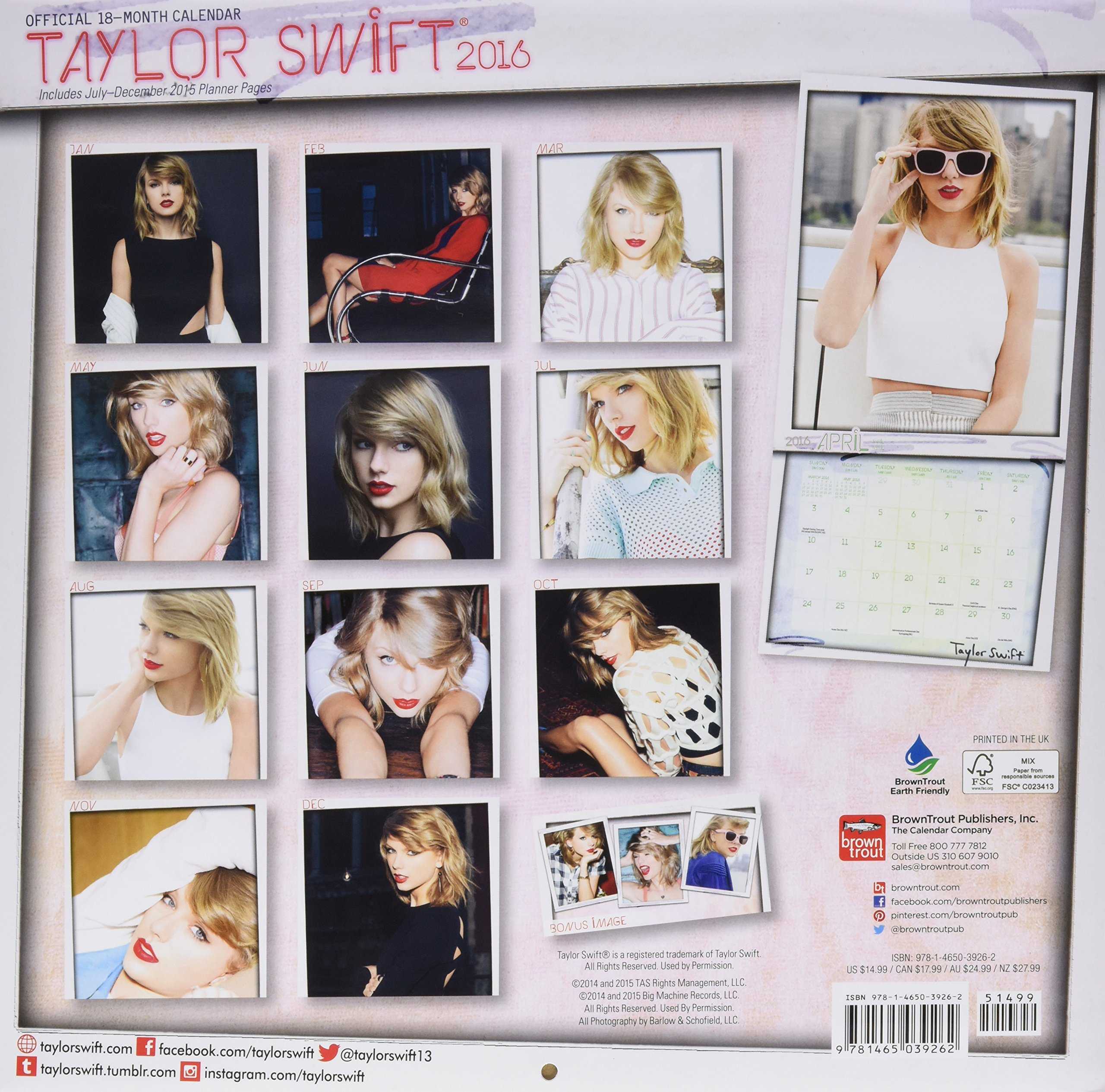 amazon taylor swift official 2016 calendar browntrout publishers