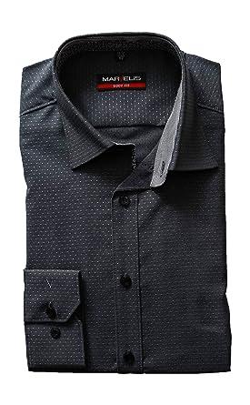 Marvelis Body Fit Camisa de Manga Larga New Kent Cuello patrón Antracita Negro 42: Amazon.es: Ropa y accesorios