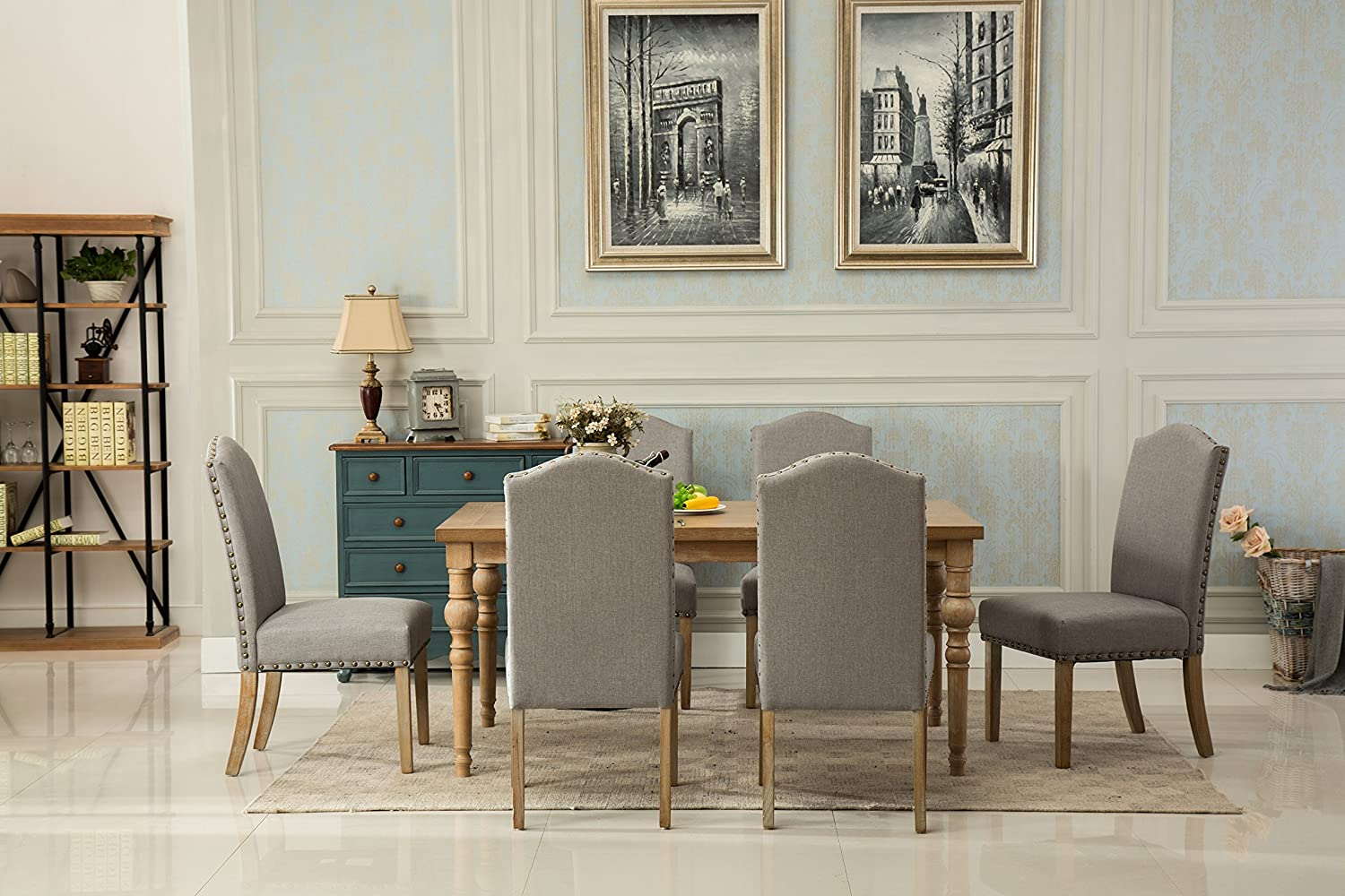 Roundhill Furniture Collection Habitanian Solid Wood Dining Table with 6 Nailhead Chairs, Gray,