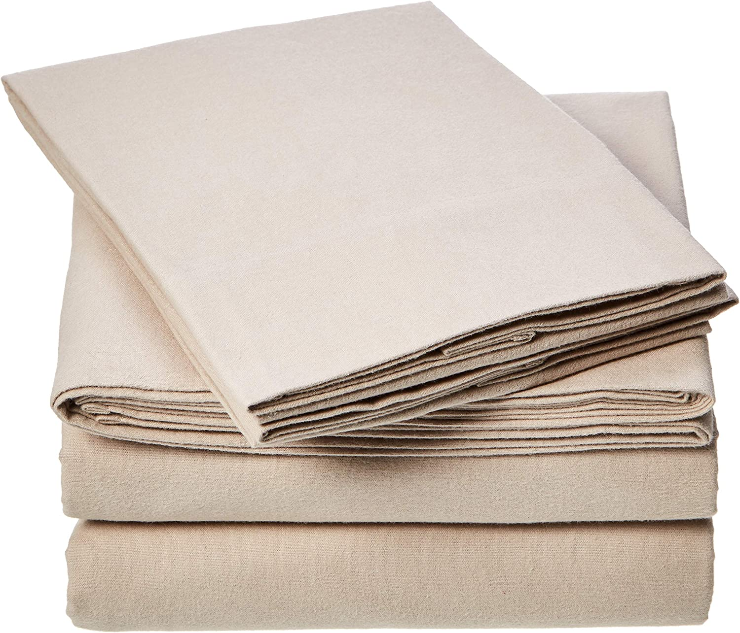 AmazonBasics Everyday Flannel Bed Sheet Set - California King, Taupe