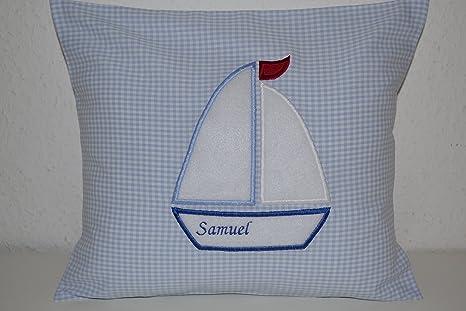 Cojín para bebé, cojín de peluche, cojín con nombre, barco ...