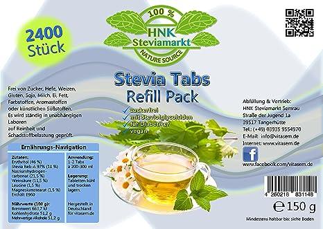Stevia Tabs Refill Pack für die Nachfülldose (2400 Stück) | Nachfüll-Pack für Stevi Stevia 300er Spender - Premium Qualität