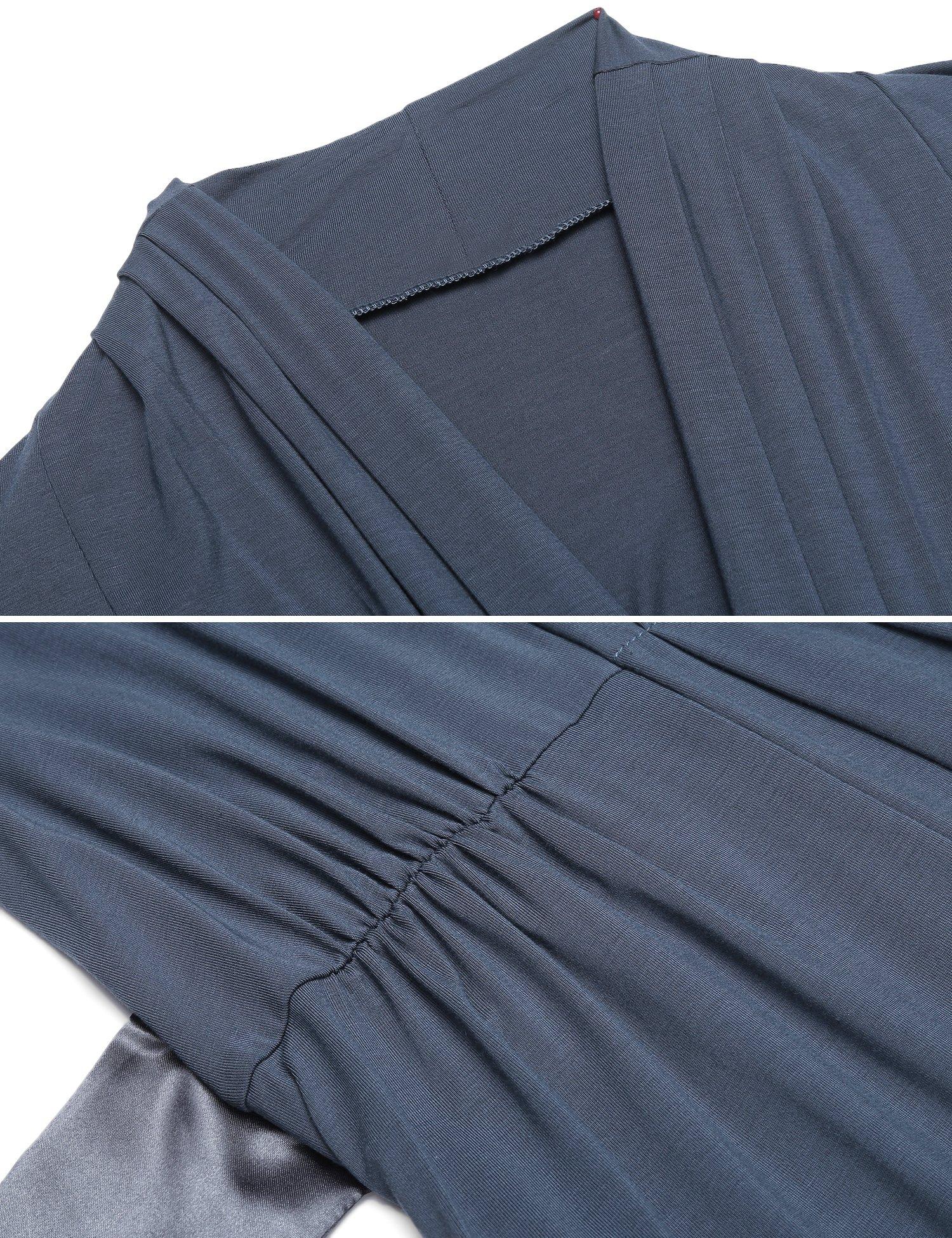 L\'amore Womens Three-quarter Sleeves Bathrobe Stain Waist Belt Kimono Robe Cotton Sleepwear