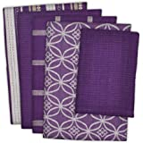 """DII Cotton Oversized Kitchen Dish Towels 18 x 28"""" and Dishcloth 13 x 13"""", Set of 5 , Absorbent Washing Drying Dishtowels…"""