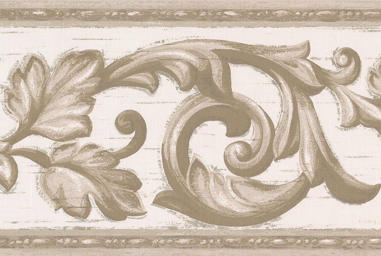 Grau Vine Weiß Damast Tapeten Bordüre Vintage Design, Rolle 15'x 17,8cm Rolle 15'x 17 Norwall