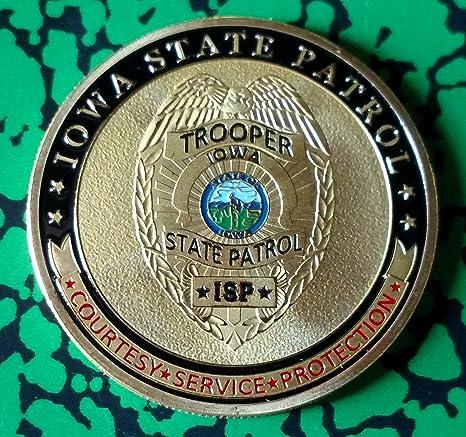 Iowa State Patrol Trooper Police Challenge Art Coin