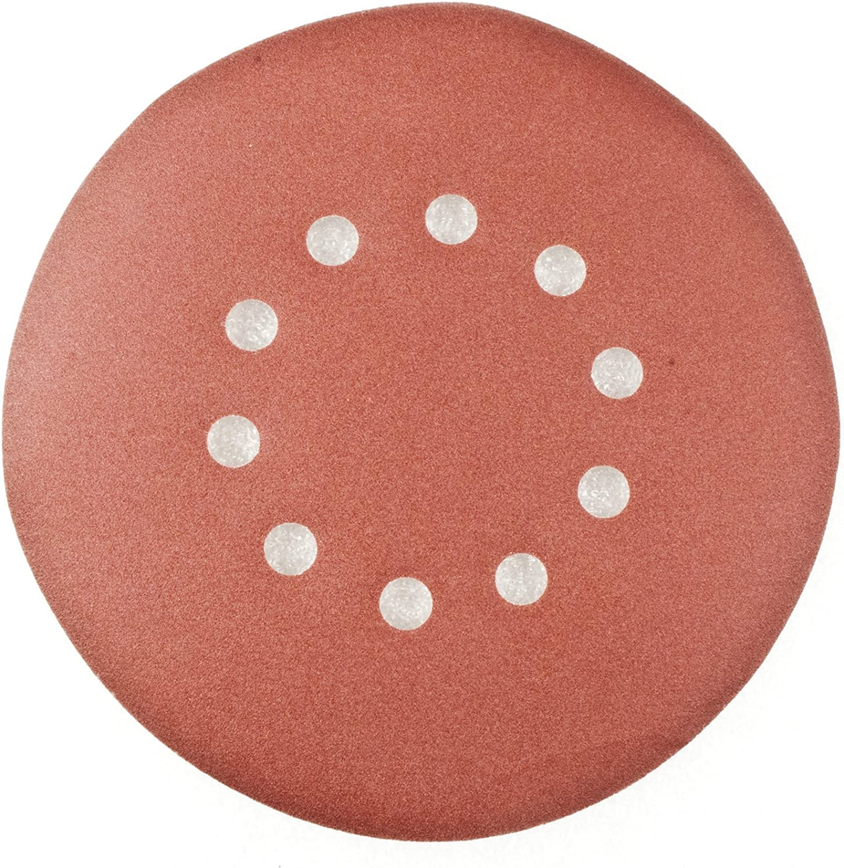 ALEKO 10SANDPAPERHOLE180 9 Inch 10 Hole 180 Grit Sanding Discs Sandpaper for Drywall Sander 10 Pack