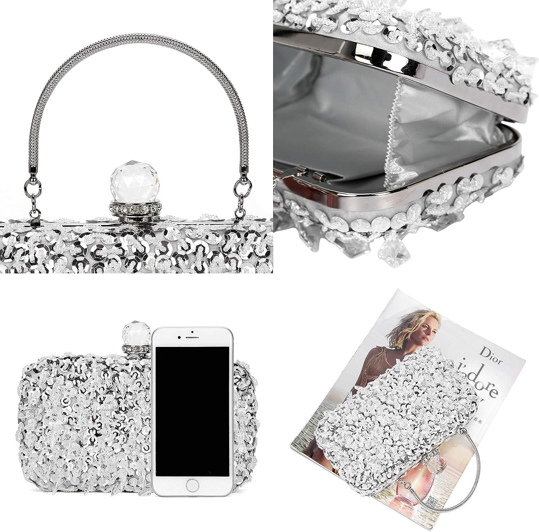 Z-Silver Women Glitter Clutch Evening Handbags Ladies Pures Hard Shell Tassel Clutches for Parties Wedding Club