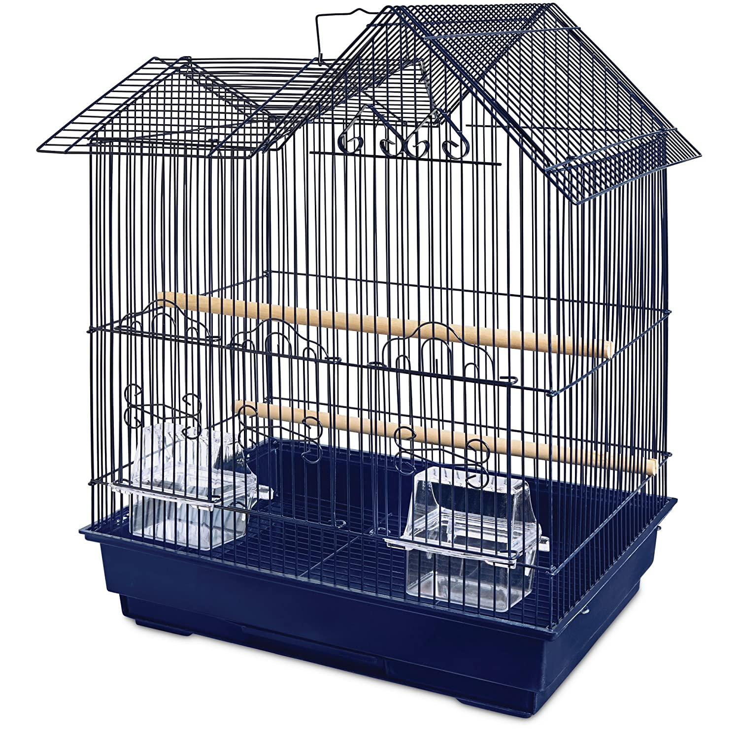 You& Me Parakeet Ranch House Cage, Navy 16.5 in Blue You & Me